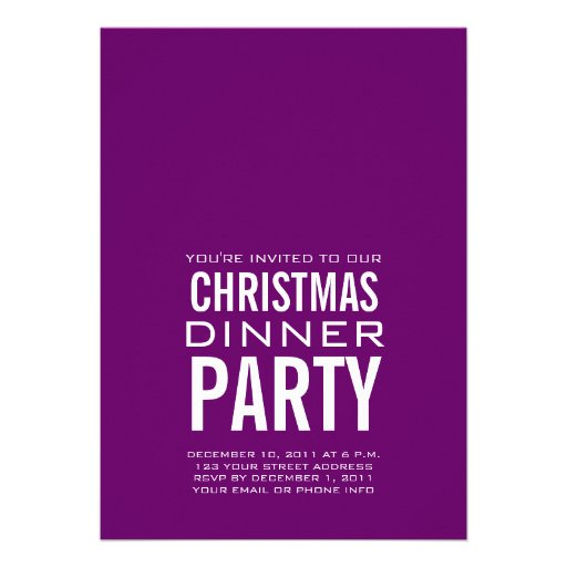 MODERN CHRISTMAS DINNER PARTY INVITATION PURPLE