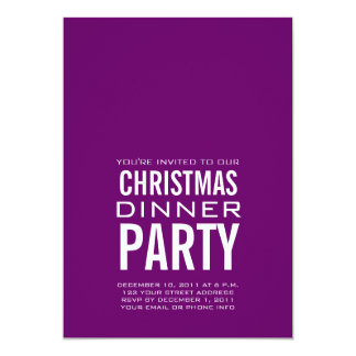 "MODERN CHRISTMAS DINNER PARTY INVITATION PURPLE 5"" X 7"" INVITATION CARD"