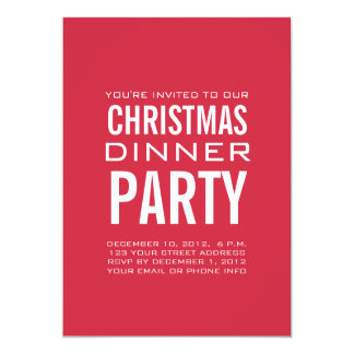 MODERN CHRISTMAS DINNER PARTY INVITATION RED