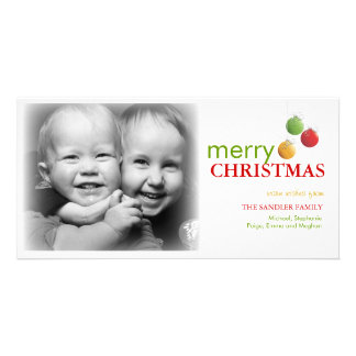 Modern Christmas Ornament Photo Greeting Photo Card Template