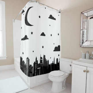 Modern Cityscape Skyline & Starry Sky Shower Curtain