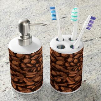 Modern Coffee Beans Soap Dispenser And Toothbrush Holder