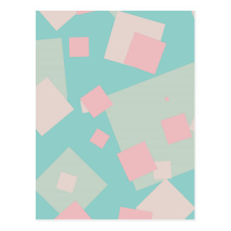 Modern colorful cyan and pink boxes pattern postcard