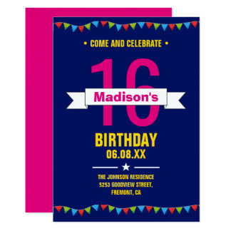 Modern Colourful Typography 16th Birthday Party Card