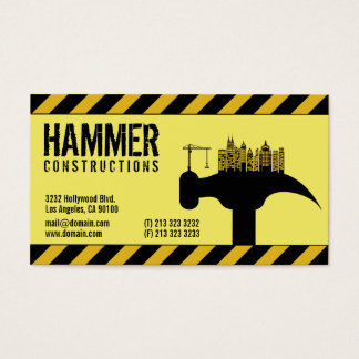 Modern Construction Builder Contractor Business Card
