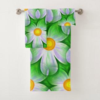 Modern Contemporary Daisy Pattern Bath Towel Set