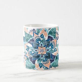 Modern coral blue watercolor floral illustration coffee mug