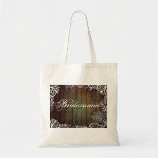 modern country barn wood lace rustic bridesmaid tote bag