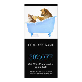 Modern cute animals pet service beauty salon personalised rack card