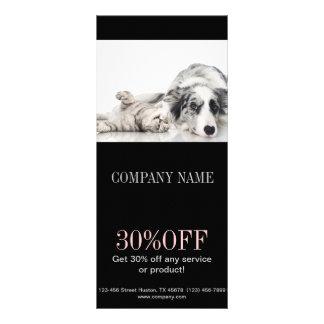 Modern cute animals pet service beauty salon personalized rack card