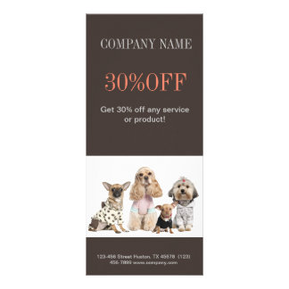 Modern cute animals pet service beauty salon rack card template