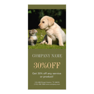 Modern cute animals pet service beauty salon rack cards