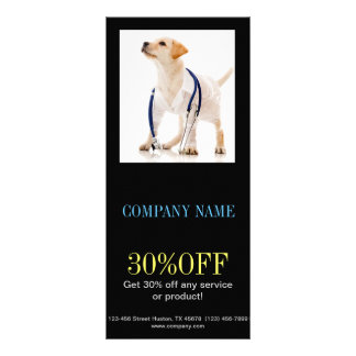 Modern cute animals pet service veterinary personalised rack card