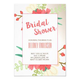 Modern Cute Floral Bridal Shower Invitation