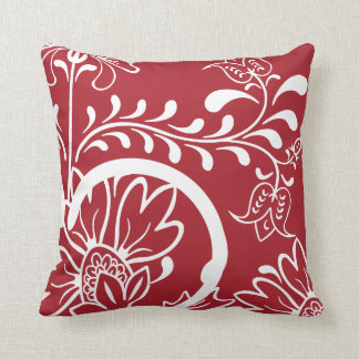 Modern Damask Floral Pattern | Red White Cushion