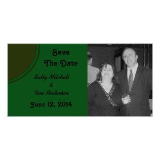 Modern Dark Green Circle Wedding Photo Card