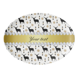 Modern Deer Pattern and Diamonds Porcelain Serving Platter