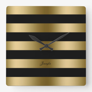 Modern Design Black And Gold Stripes Pattern Square Wall Clock