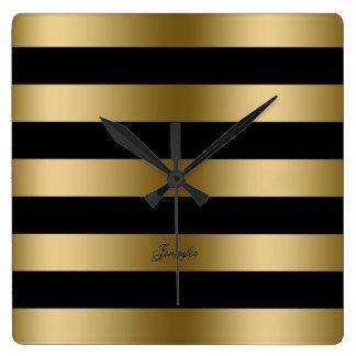 Modern Design Black And Gold Stripes Pattern Wallclocks