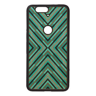 Modern Diagonal Checkered Shades of Green Pattern Wood Nexus 6P Case
