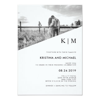 Modern Diagonal | Photo Wedding Invitation