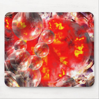 Modern Digital Abstract Balls & Fire Mouse Pad