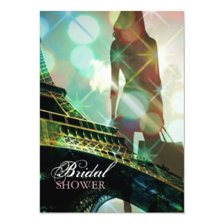 Modern Eiffel Tower Paris Bridal Shower 13 Cm X 18 Cm Invitation Card