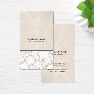 Modern Elegant Beige White Lace Event Planner Business Card