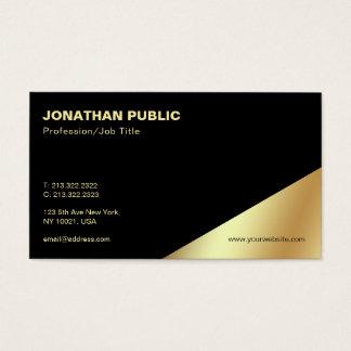 Modern Elegant Black Gold Professional Plain Business Card