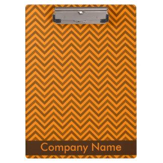 Modern Elegant Brown & Orange Zigzag Company Logo Clipboards