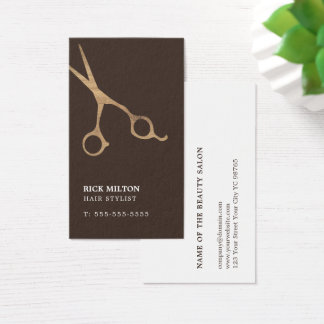 Modern Elegant Brown Wooden Scissor Hairdresser Business Card