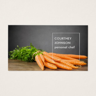 Modern Elegant Carrots Photo Personal Chef Business Card