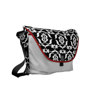 Modern Elegant Damask Black White Red Messenger Bag