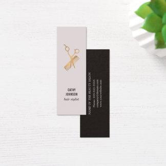 Modern Elegant Faux Gold Scissors Comb Mini Business Card
