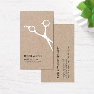 Modern Elegant Kraft White Scissor Hairstylist Business Card