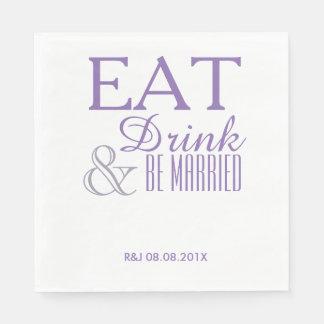 modern elegant pastel lilac purple wedding favor paper napkin