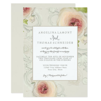 Modern Elegant Peony Scrollwork Flower Floral Art Card
