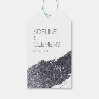 Modern Elegant Silver Paint THANK YOU gift tag