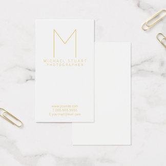 Modern Elegant White and Gold Monogram Business Card
