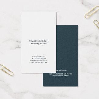 Modern Elegant White Blue Attorney Business Card