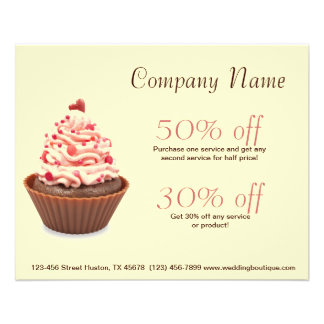 modern elegant yellow pink cupcake business 11.5 cm x 14 cm flyer