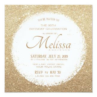 Modern Faux Glitter Gold and White Birthday Invite