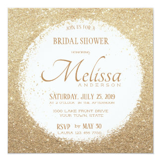 Modern Faux Glitter Gold and White Bridal Shower Card