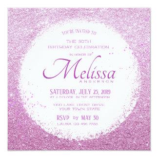 Modern Faux Glitter Pinkish Purple Birthday Invite