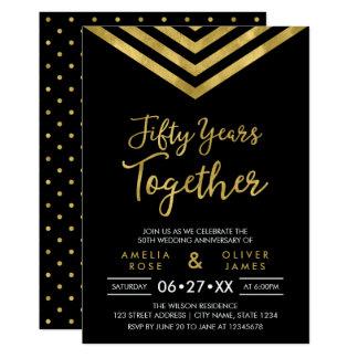 Modern Faux Gold Chevron 50th Anniversary Party Card