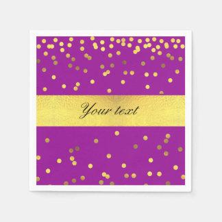 Modern Faux Gold Foil Confetti Purple Disposable Serviette
