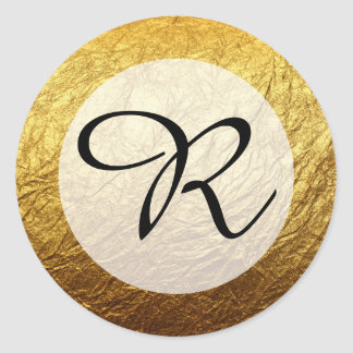 Modern Faux Gold Foil Monogram Round Sticker