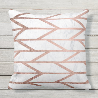 Modern faux rose gold herringbone chevron pattern outdoor cushion