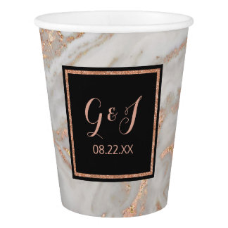 Modern Faux Rose Gold Marble Monogram Wedding Paper Cup