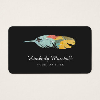Modern Feather Business Cards / Gray Aqua